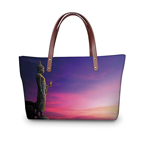 iPrint Design the fashion for you Waterproof Women Casual Handbag Tote Bags,Asian Decor,Standing Statue on Fairy Sunset Famous Ancient Asian Heritage Picture Canvas Decor,Multi. ()
