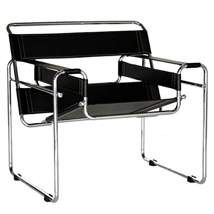 Bon Baxton Studio Modern Leather Accent Chair, Black And Chrome