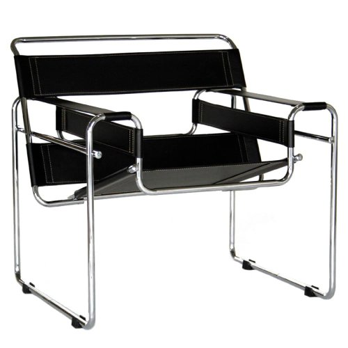 Exceptionnel Amazon.com: Baxton Studio Modern Leather Accent Chair, Black And Chrome:  Kitchen U0026 Dining