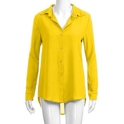 BHYDRY Moda para Mujer Camiseta de Gasa sólida Señoras de la Oficina Blusa de Manga Llana del Rollo Tops: Amazon.es: Ropa y accesorios
