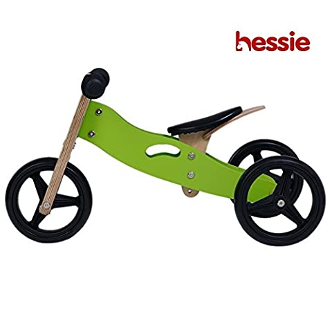 Hessie Wooden Balance Bike, Self Balancing Bicycle for Little Boys & Girls, Toddlers Kids with Adjustable Seat & Rubber Tires - Smart Gear (1 2 Inch Kids Pedals)