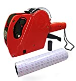 LoveLife99 MX5500 EOS Red 8 Digits Pricing Gun Kit with 8,000 Labels & Spare Ink MX-5500 EOS 8 Digits Price Tag Gun +8000 White w/Red Lines Sticker Labels + Ink