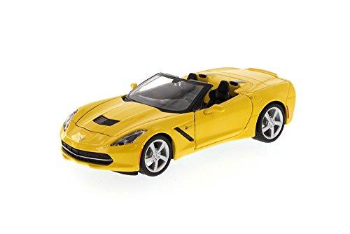 Maisto Chevy Corvette Stingray Convertible, Yellow 34501 - 1/24 Scale Diecast Model Toy Car, but NO Box