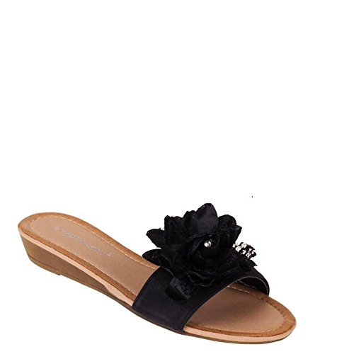 King Shoes Women's Open Toe Sandals Schwarz AX-2 lptpj8py