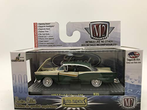M2 Machines Auto-Thentics 1957 Ford Fairlane 500 1:64 Scale R35 15-73 Green/Creamy Yellow Details Like NO Other! Over 42 Parts ()