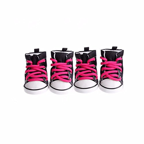 4pcs Pet Dog Denim Shoes Sport Casual Anti-Slip Sneaker Boots for Teddy Yorkie (1, - Sneakers Dog