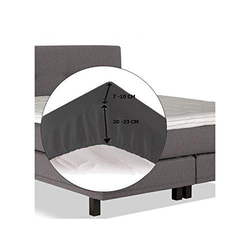 Sábana bajera ajustable de punto de algodón para topper de colchón 200 x 210 cm negro - 200 x 210 cm: Amazon.es: Hogar