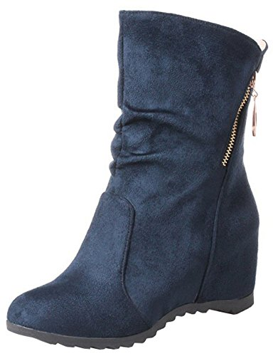 Easemax Women's Casual Round Toe Zip Up Mid Wedge Heels Inside Faux Suede Mid Calf Booties Blue LHoPM