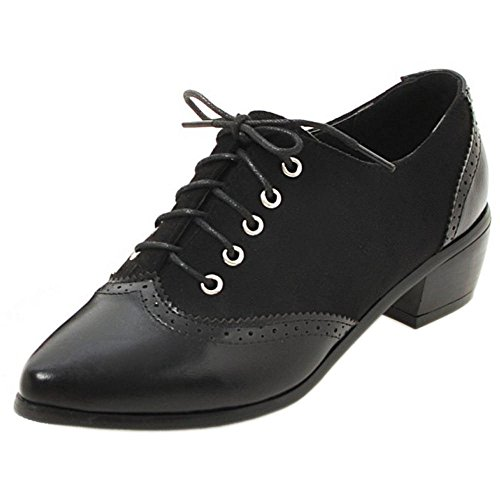 TAOFFEN Women's Lace up Shoes Black tVkJba4