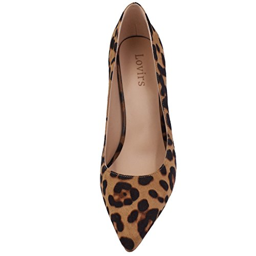 7410ce9aa Lovirs Womens Leopard Suede Office Basic Slip on Pumps Stiletto Mid-heel  Pointy Toe Shoes