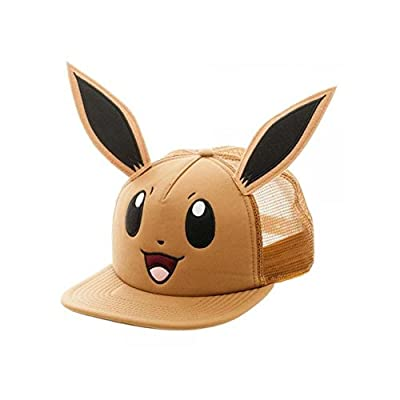 Superheroes Brand Pokemon Eevee Big Face with Ears Trucker Snapback Hat/Cap