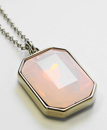 Q. DESIGN. Rectangle FACETTED Glass Opal Pendant Necklace. Choose from 5 Color Stones. (Pink, Rhodium-Plated-Brass)