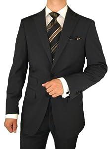 B0041C2PTM Gino Valentino Men's Suit 2 Button Ticket Pocket Jacket Charcoal Black Stripe (44 Regular)