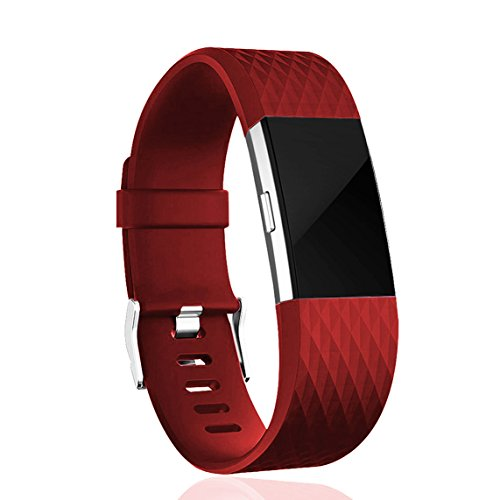 Wishesport Fitbit Charge 2 Bands, Classic & Special Edition Replacement bands for Fitbit Charge 2, Large Small Diamond L Red
