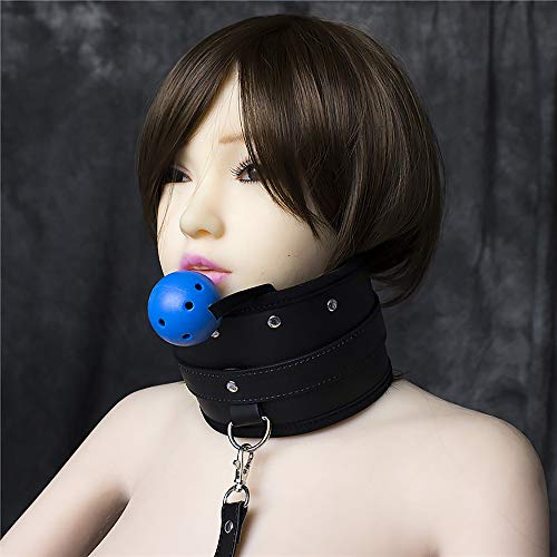 Fetish Turtle - daogong Leather Turtleneck with Blue Vomit + Traction Leather Chain Neck Collar
