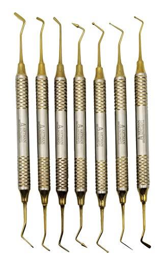 Dental Composite Glass Ionomer Amalgam filling Instruments Kit (7 golden plasma coated pcs) by Wise Linkers