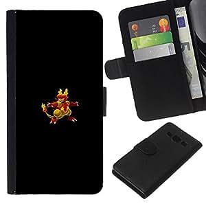 LECELL--Cuero de la tarjeta la carpeta del tirón Smartphone Slots Protección Holder For Samsung Galaxy A3 -- Flaming empuje Pato --