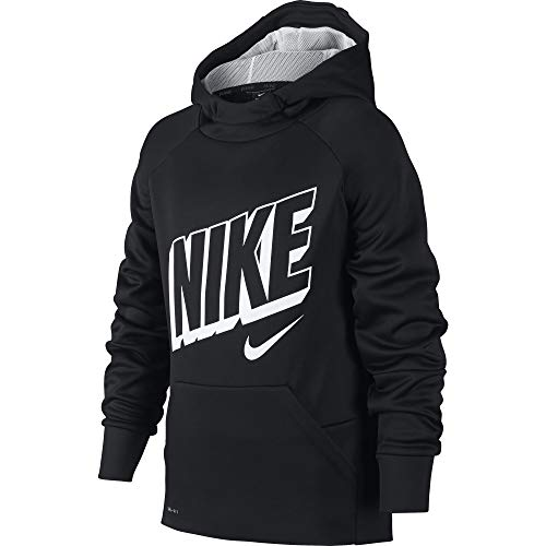 Nike Boy's Therma Graphic Training Pullover Hoodie Black/Wolf Grey/White Size Medium