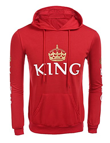 Jingjing1 King and Queen Matching Couple Pullover Hoodie Sweatshirts Valentine's Day Gift (XXL, Red/King)