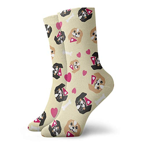 Mens and Women Patterned Dress Socks King Charles Cavalier Love - Yellow_1108 Colorful Funny Novelty Crazy Crew Socks