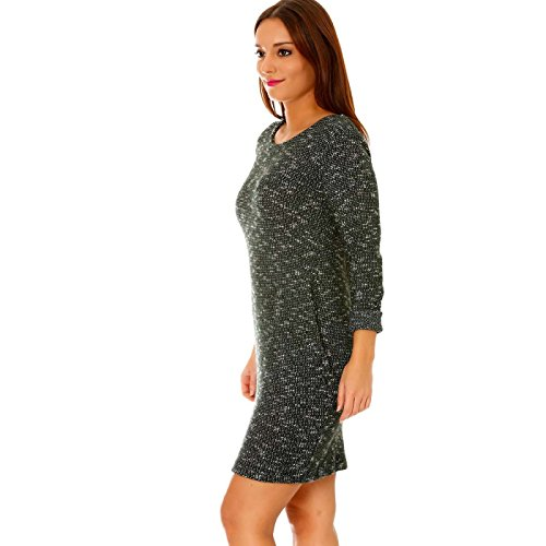 Miss Wear Line - Robe pull manches longues verte effet chiné à poches bouffantes