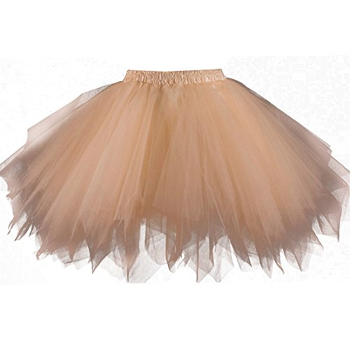 [Kileyi Women's Tutu Costume Adult Tulle Skirt Short 1950s Vintage Petticoat Champagne M] (Cheap Adult Fairy Costumes)