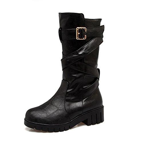 BalaMasa Womens Retro Slip-Resistant Buckle Urethane Boots ABL10199 Black veuJn9r