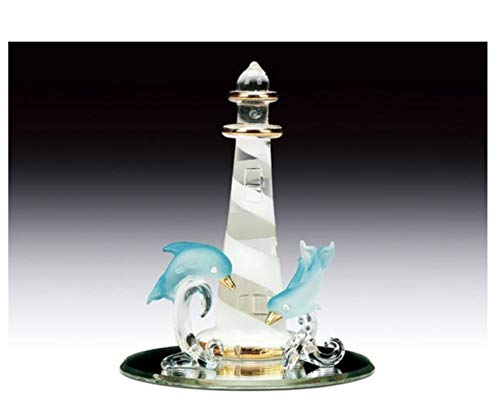 - Everspring Imports Blown Glass Dolphins on Lighthouse on Mirror Base