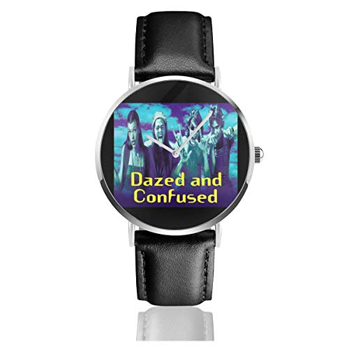 Unisex Business Casual Dazed Confused Cover Watches Quartz Leather Watch with Black Leather Band for Men Women Young Collection Gift