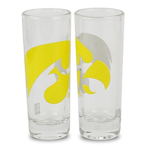 NCAA Color Team Logo 2oz Cordial Shot Glass 2-Pack (Iowa Hawkeyes)