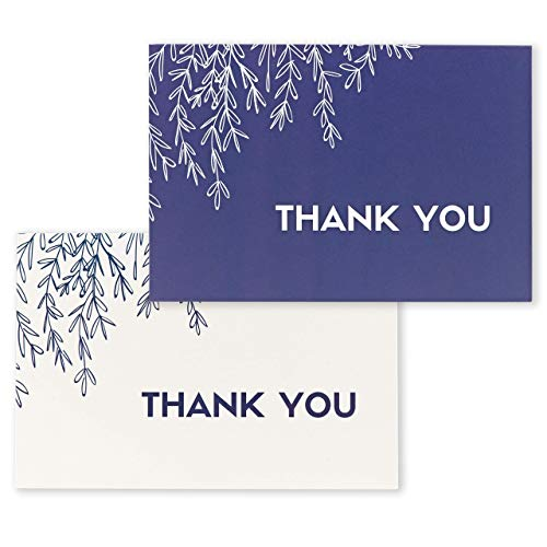 Thank You Cards by Lovely Giraffe - 100 Count With Envelopes Included - Navy Blue and White Floral Handmade Design - Perfect for Wedding, Baby Shower, Funeral, Office Business or any occasion ()