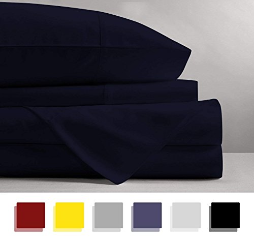 600 Thread Count 4-Piece 100% Cotton Sheets - Navy Blue Long-staple Cotton Full XL Sheets, Fits Mattress Upto 15'' Deep Pocket, Sateen, Soft Cotton Bed Sheets and Pillowcases Solid