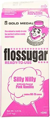 Gold Medal 3202 Pink Vanilla Flossugar, 1/2 Gallon Carton