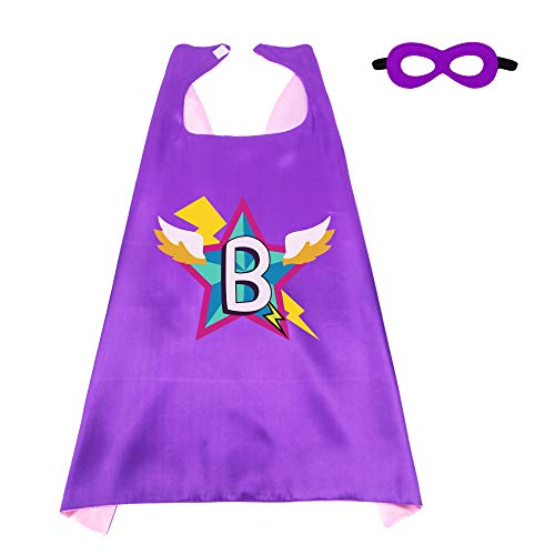 Superhero-Capes-Masks Kids-Personalized-Costume Birthday-Dress-up-Party with 26 Letter Initial (Letter B) ()