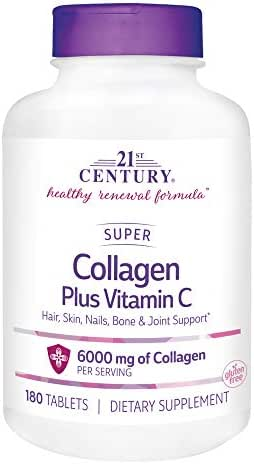 21st Century Super Collagen Plus Vitamin C Supplements, 180 Count