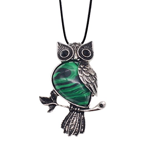 Malachite Vintage Pendant - ZHEPIN Owl Necklace Malachite Healing Pendant Nekclace for Women Men Spiritual Energy Gemstone Necklace - 19 inchesual Energy Pendant Necklace in Gift Box