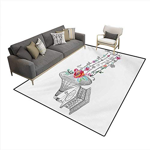 (Carpet,Vintage Style Gramophone Record Player Floral Ornament Blossom Antique,Customize Rug Pad,Grey Black White,6'6