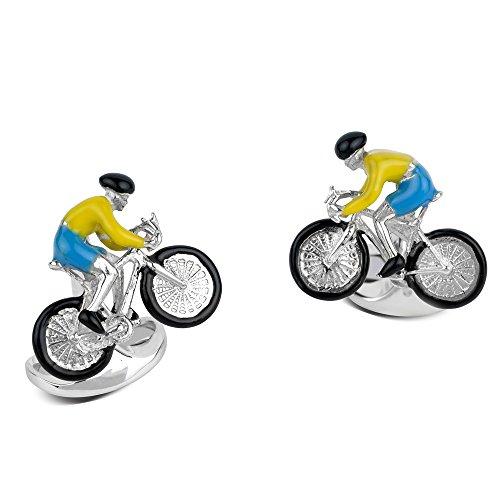 Deakin & Francis Sterling Silver Bike & Rider Cufflinks by Deakin and Francis