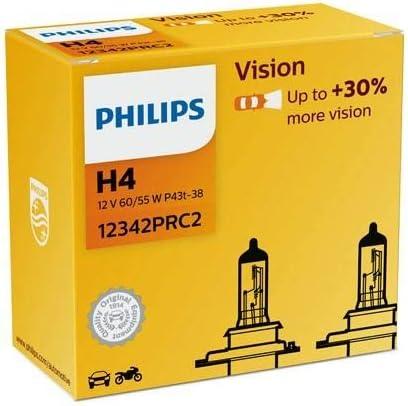 Philips H4 12342prc2 Autoscheinwerfer 12 V 60 55 W P43t 38 Vision 2 Stück Auto