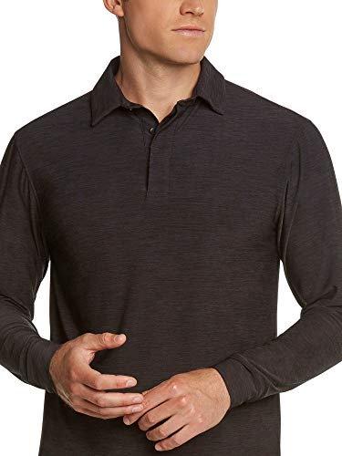 - Men's Dry Fit Long Sleeve Polo Golf Shirt, Moisture Wicking and UV Protection Pure Black