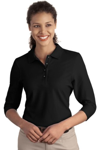 Port Authority Ladies Silk Touch 3/4-Sleeve Polo, Black, - Womens Top Polo