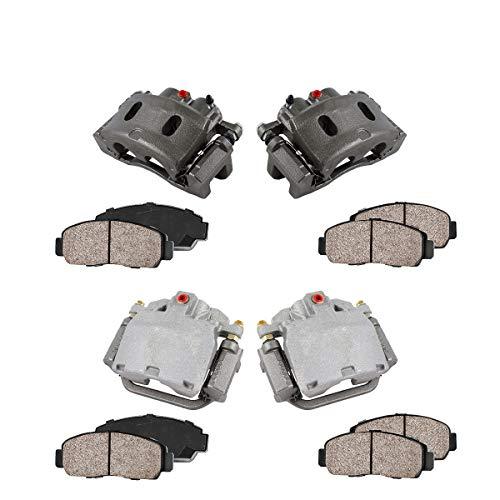 FRONT + REAR [ 4 ] Premium Grade Semi-Loaded OE Caliper + Ceramic Brake Pads Kit