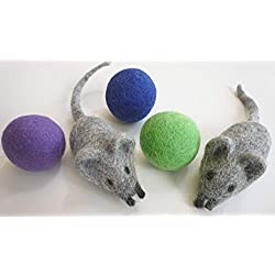 Earthtone Solutions Felt Wool Ball and Mouse Toys for Cats and Kittens, Adorable Colorful Soft Quiet 4cm Fabric Balls, Unique Handmade Natural, Eco-Friendly Cat Lover Gifts, 2 Felt Mice 3 Felt Balls