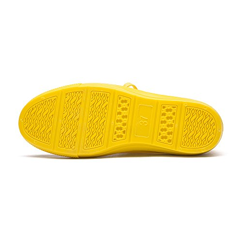 Rain Ankle Rain Shoes Women's Boots Casual Shoelaces With Waterproof Canvas Shoes Short Yellow SCcBcXFa