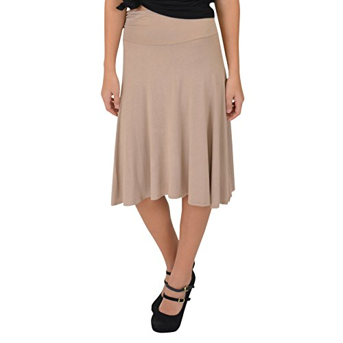 Skirt Beige Womens (Stretch is Comfort Women's Knee Length Flowy Skirt Beige Medium)