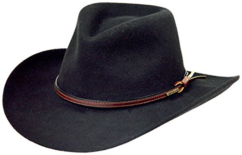 Stetson Men's Bozeman Wool Felt Crushable Cowboy Hat Black Large -
