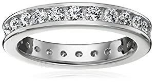 Platinum-Plated Sterling Silver Swarovski Zirconia Channel Set All-Around Ring from Amazon Collection