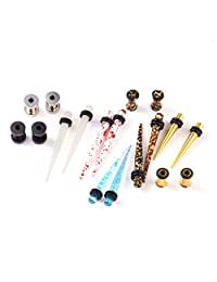 BodyJ4You 18PC Random Mix Gauges 6G-16mm Assorted Plug Tunnel Taper Steel Acrylic Silicone Expanders