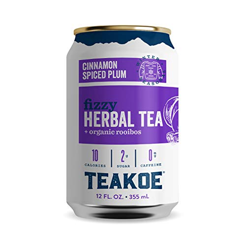 TEAKOE Cinnamon Spiced Plum Tea   Spiced Plum Sparkling Tea   Non-Caffeinated Herbal Iced Tea   Organic Hibiscus, Rooibos, Cinnamon, Clove & Vanilla Flavors   Only 55 Calories (12/12 fl oz Tea Cans)