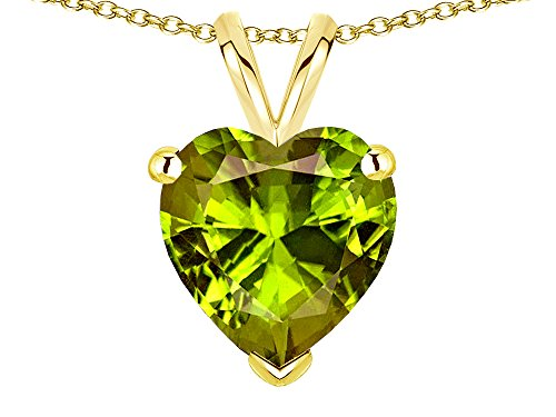 Genuine Peridot Heart Pendant - Star K 8mm Heart Genuine Peridot Pendant Necklace 14 kt Yellow Gold